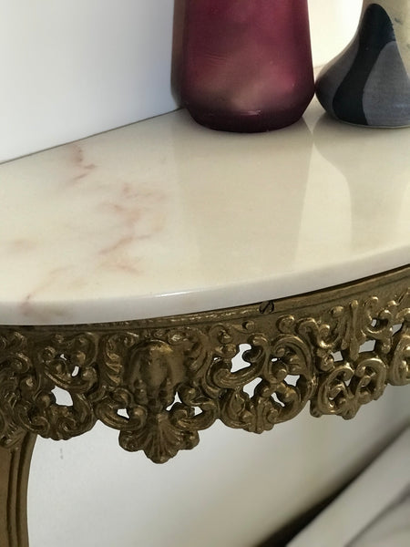 Antique Marble Half-moon Table