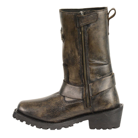 Distressed Brown 11 Inch Classic Harness Square Toe Ladies Boots - leather-products-shop