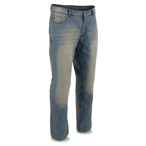 Men's Armored Denim Reinforced w/ Aramid® by DuPont™ Fibers distressed blue pants - leather-products-shop