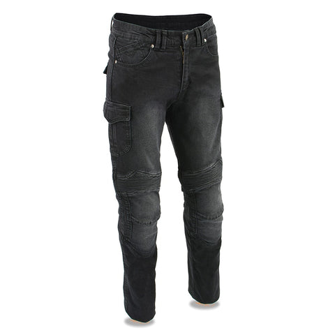 Men's Armored Straight Cut Denim Jeans Reinforced Black Pants - leather-products-shop