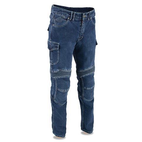 Men's Armored Straight Cut Denim Jeans Reinforced Distressed Blue Pants - leather-products-shop