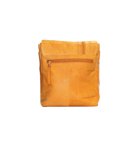 Light brown flap cover leather bag - leather-products-shop
