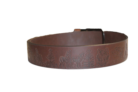 wolf and evergreen brown leather belt - leather-products-shop