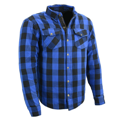 Men Armored Checkered Flannel w/ Aramid® by DuPont™ fibers Biker Shirt Blue - leather-products-shop