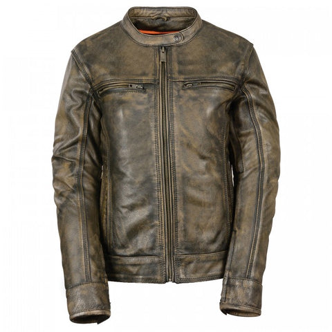 Brown Leather Ladies Jacket - leather-products-shop