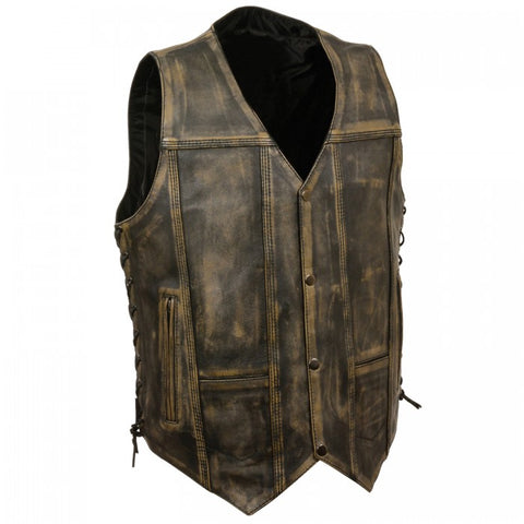 Distressed Brown Leather Men Vest - leather-products-shop