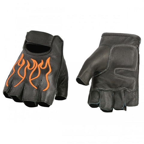 Men's Flame Embroidered Finger less Gloves w/ Gel Palm - leather-products-shop