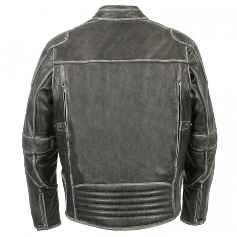 Grey Distressed Men Leather Jacket - leather-products-shop