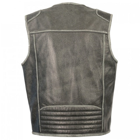 Grey Leather Men Vest - leather-products-shop
