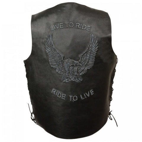 Live to ride men vest - leather-products-shop