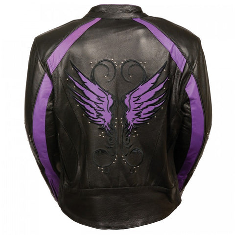 Purple Angel Wings Ladies Jacket - leather-products-shop