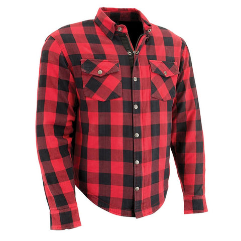Men Armored Checkered Flannel w/ Aramid® by DuPont™ fibers Biker Shirt Red - leather-products-shop