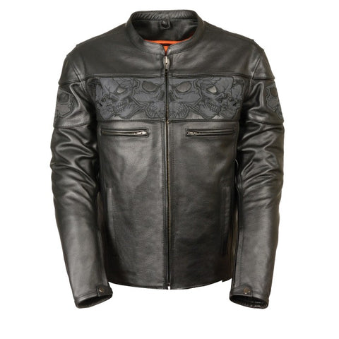 Reflecting Skulls Men Leather Jacket - leather-products-shop