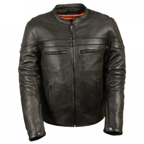 Sporty Scooter Crossover Men Leather Jacket - leather-products-shop