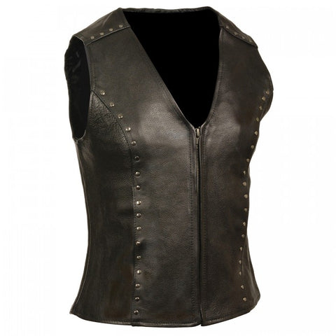 Studded Ladies Vest - leather-products-shop