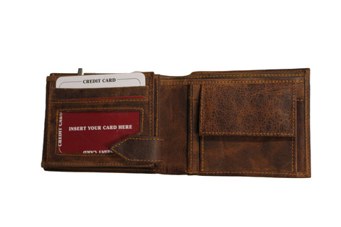 Distressed brown leather wallet - leather-products-shop