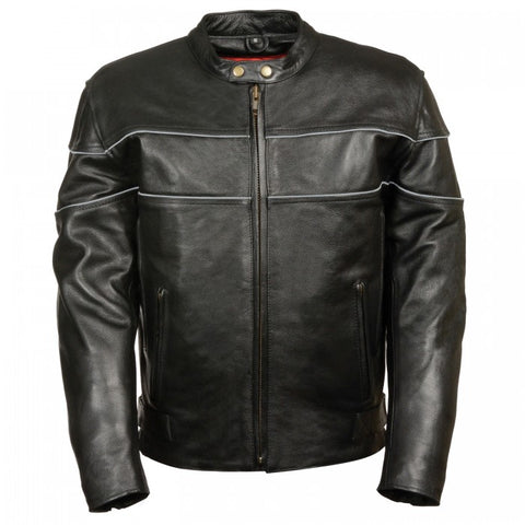 Wide Reflector Men Leather Jacket - leather-products-shop