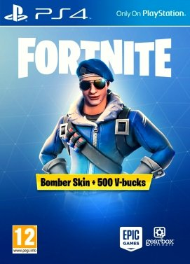 Playstation 4 Fortnite Bomber Skin + 500V-Bucks