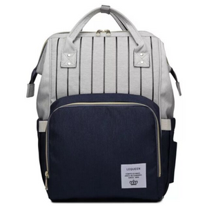 Lequeen Classic Baby Bag - Navy Blue / Grey Stripe