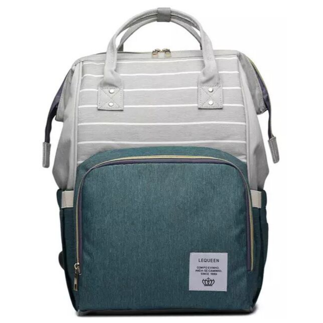 Lequeen Classic Baby Bag - Teal Green / Grey Stripe