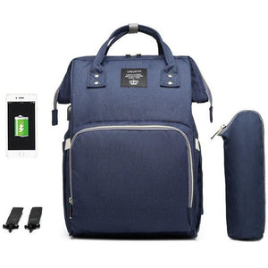 Lequeen Classic USB Baby Bag + Pram Straps - Navy Blue