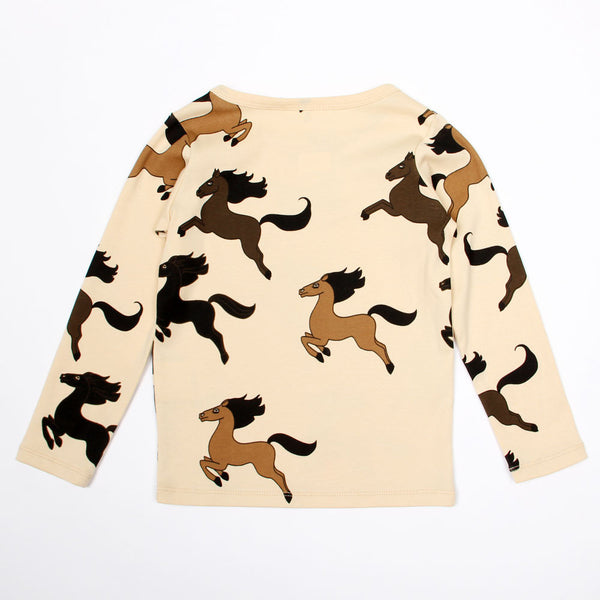 Horse Long Sleeve Tee - Beige