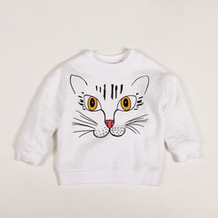 Cat Sweatshirt - White