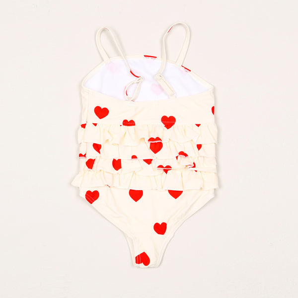 Heart Frill Swimsuit - Offwhite