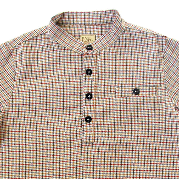 Hector Shirt - Red with black button