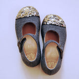 Fresco Lana Grigio / Oro - Grey Fabric + Paillettes
