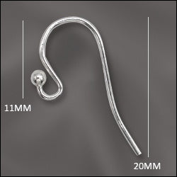 Sterling Silver Earwire .028 w/Ball End