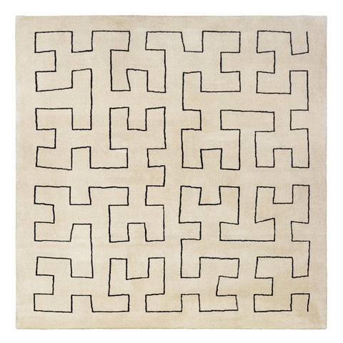 Maze Hand Knotted Platinum Rug