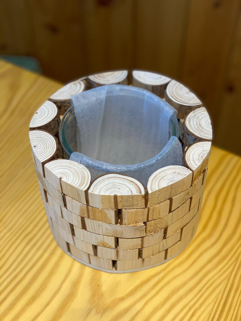 Wooden Glass Pot