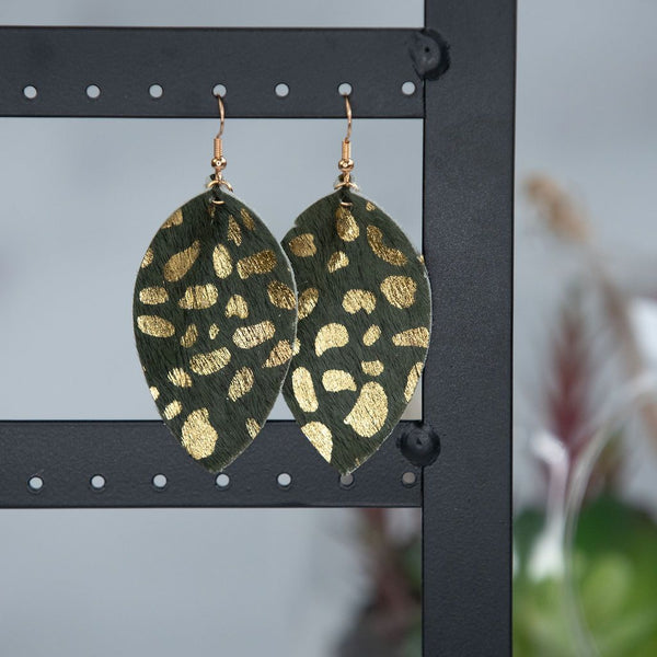 Gold Flecked Suede Teardrop Earrings in Five Colors