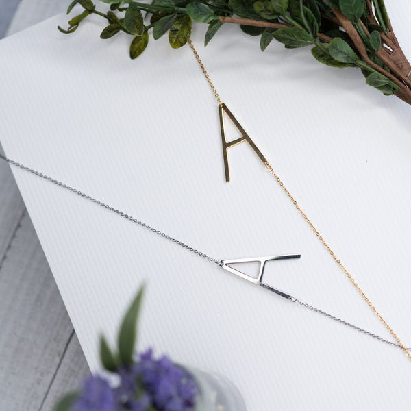 Large Letter / Initial Necklace In Silver
