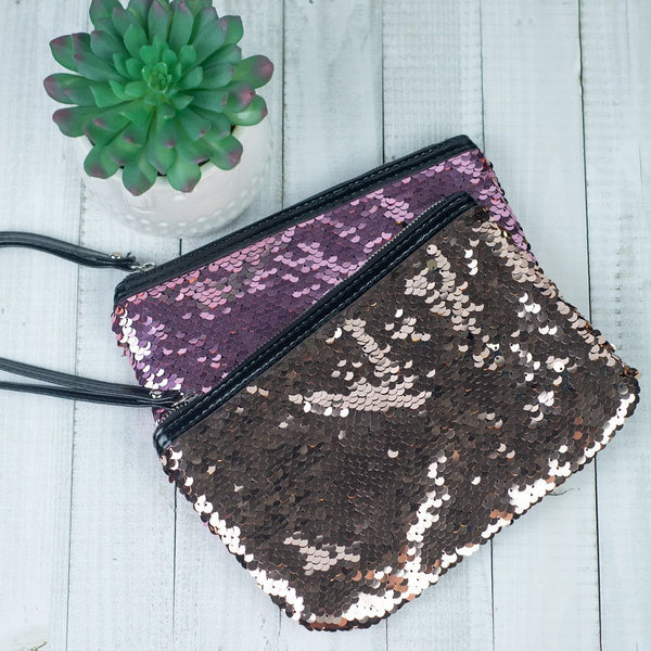 Reversible Sequin Zip Pouches/ Wristlets