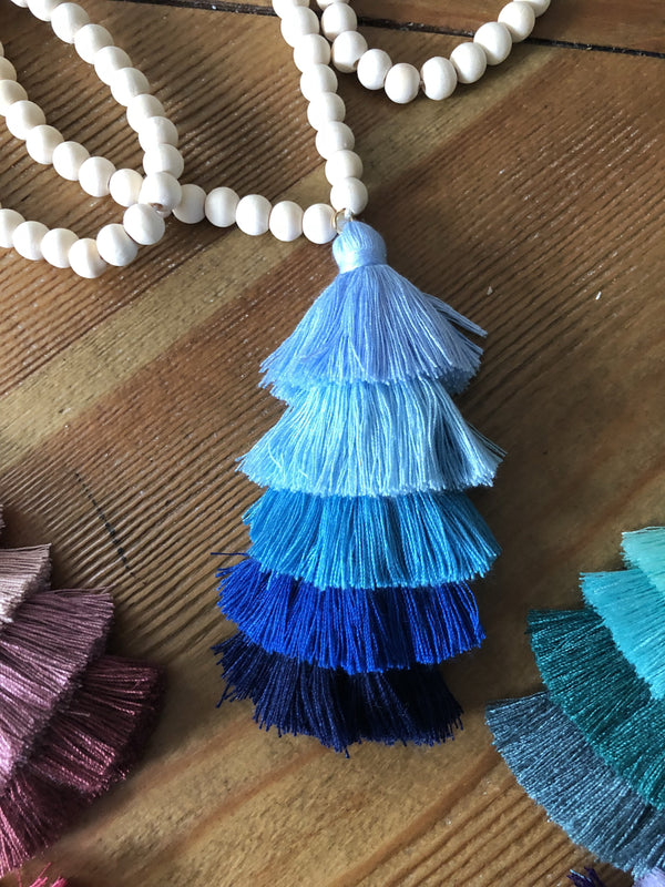 The Ella Pendant: The Wooden Bead and Ombre Tassel Necklace