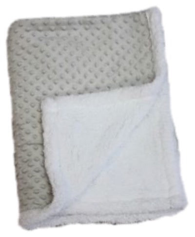 Baby Blanket -  Popcorn Sherpa - Grey(Embroidery Included)