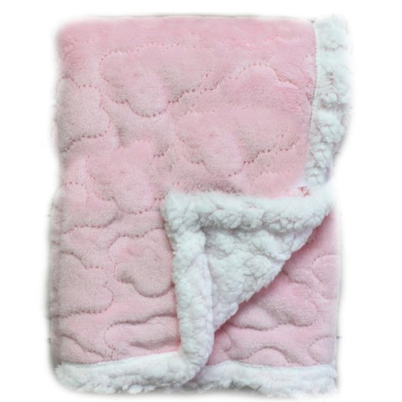 Baby Blanket -  Pink Cloud Sherpa(Embroidery Included)
