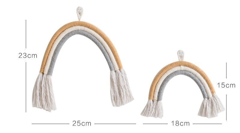 6a8b0f52d2d45 Neutral and Knotted Fiber Rainbow Wall Hanging (Size L)