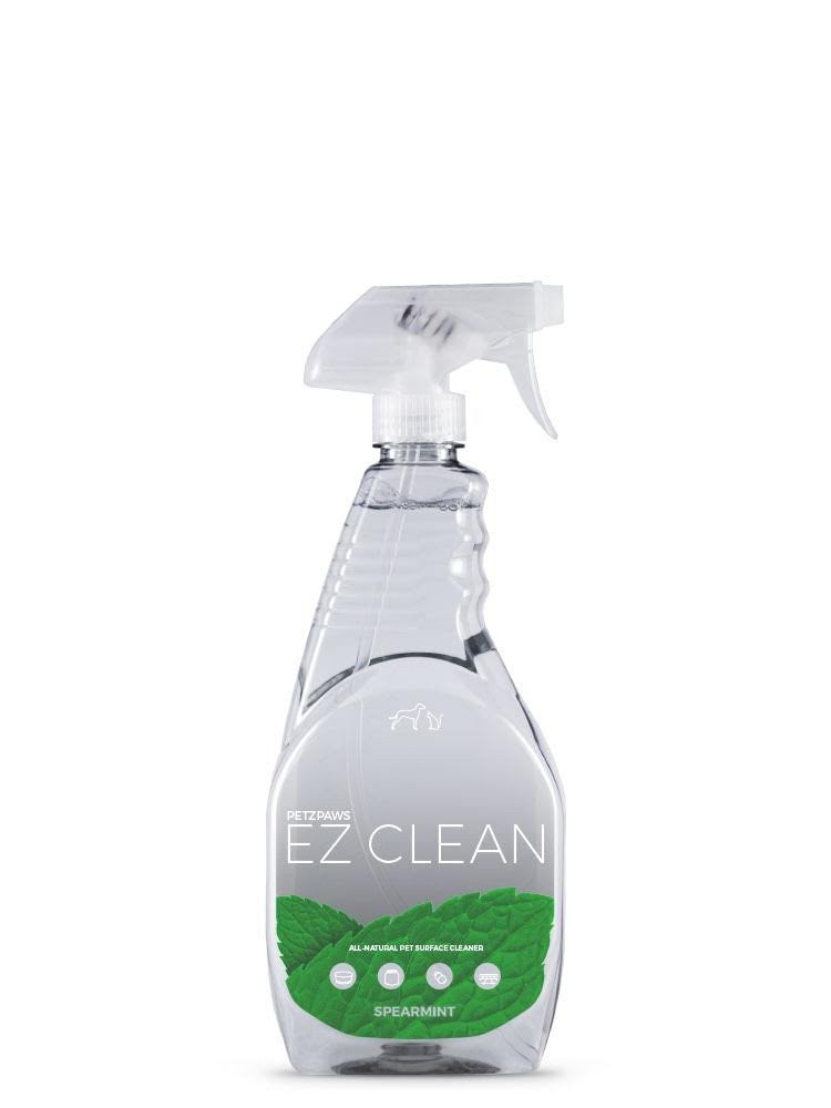 Spearmint EZ Clean is an all-natural solution that makes easy work of cleaning your pet's bowls, food storage containers, toys, and hard-surface floors. Simply spray on, wipe dry.