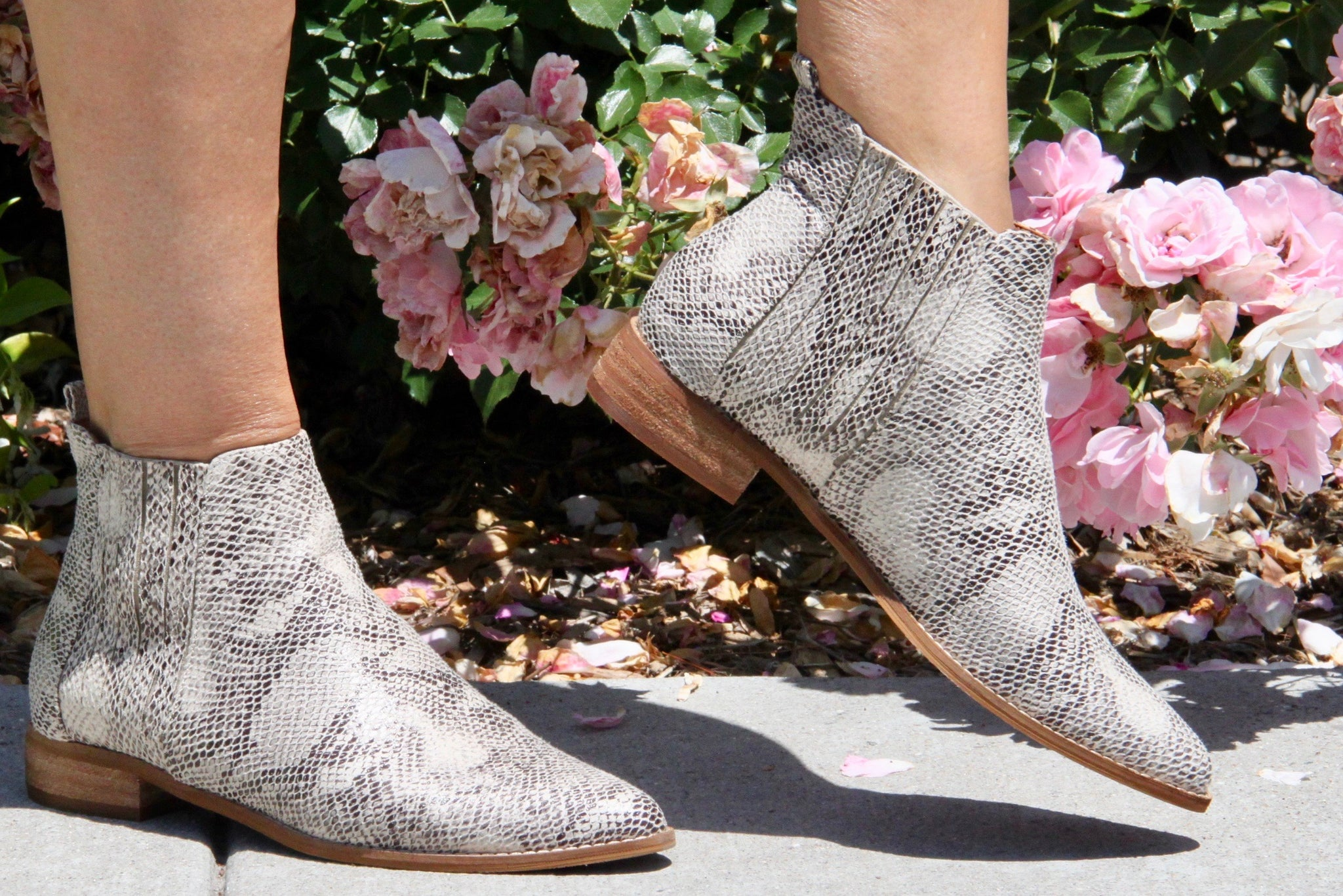 Python Print Faux Lather Bootie