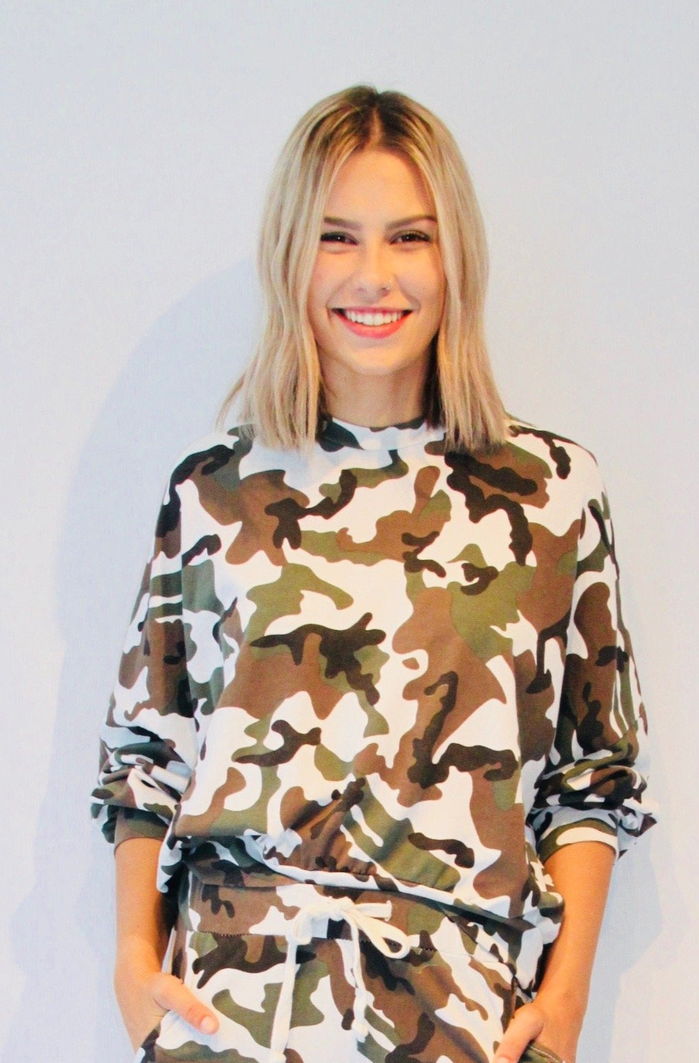 Casia Camo Cuffed Sleeves Top