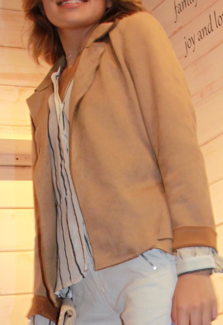 Jesi Suede Feel Blazer - Camel - The Fabulous Rag