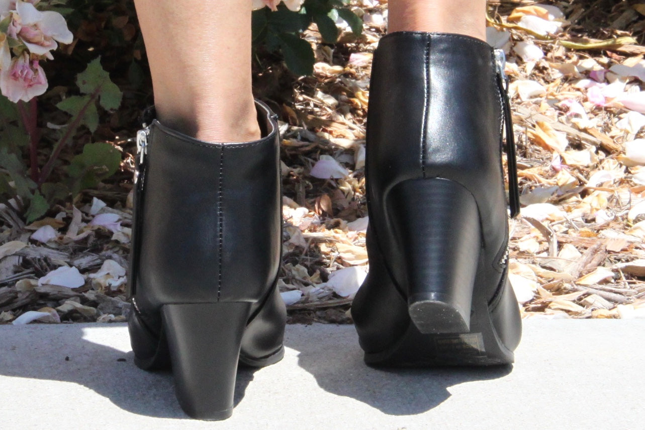 Nosate PU Leather Black Booties - The Fabulous Rag
