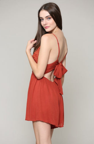 Alba Crochet Tie Back Romper - The Fabulous Rag