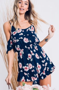 Barolo Floral Cold-Shoulder Romper - The Fabulous Rag