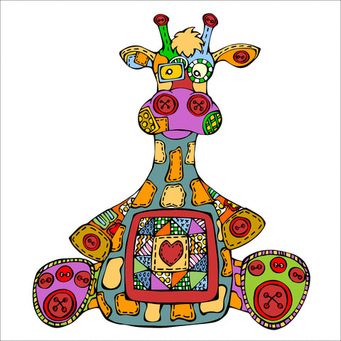 Giraffe - Button Nose Buddies - Unframed 12x12 Print