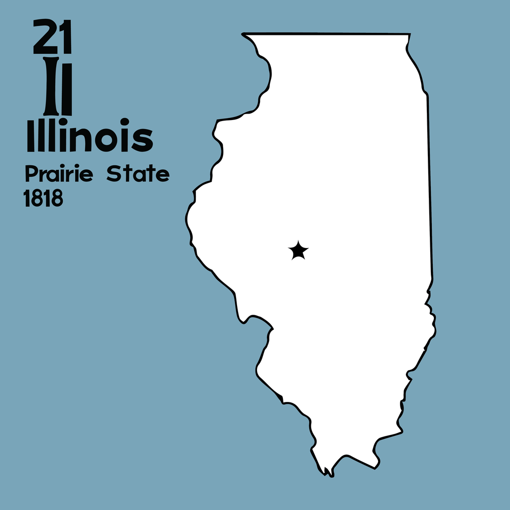 Illinois - Unframed 12x12 Print