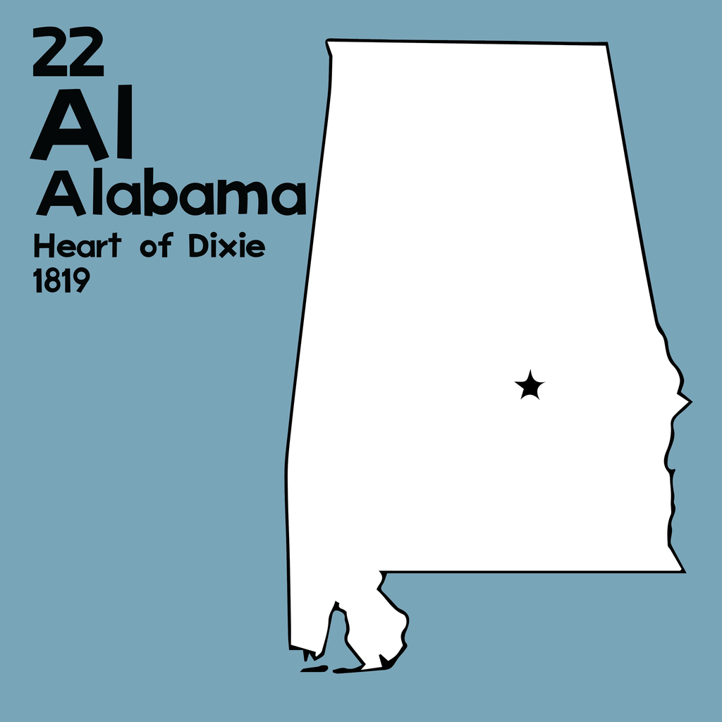 Alabama - Unframed 12x12 Print